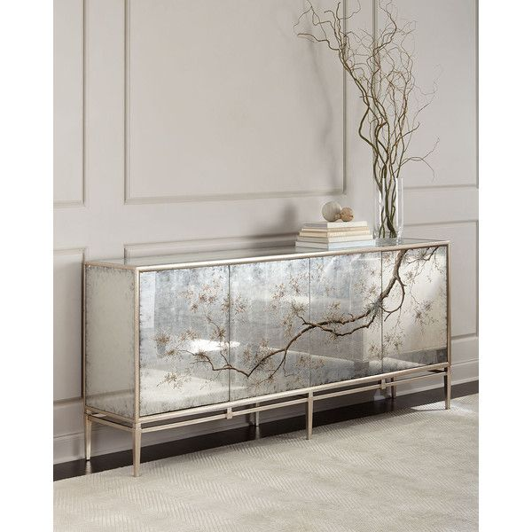 John-Richard Collection Falling Branch Eglomise Console (73.406.130 IDR) ❤ liked on Polyvore featuring home, furniture, storage & shelves, sideboards, silver, eglomise furniture, mirrored furniture, handpainted furniture, tree branch furniture and mirrored glass furniture