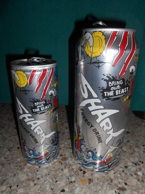 2 CYPRUS EMPTY CANS / SHARK , ENERGY DRINK - LIMITED EDITION (BIG & SMALL size)