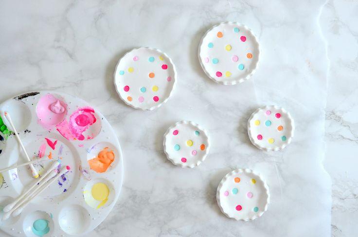 a pretty cool life. // diy polka dot ring dishes