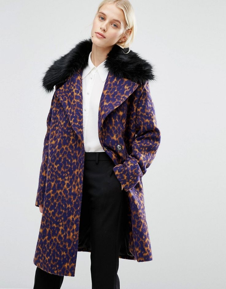 Image 1 of Lost Ink Smart Coat With Faux Fur Collar In Leopard Print