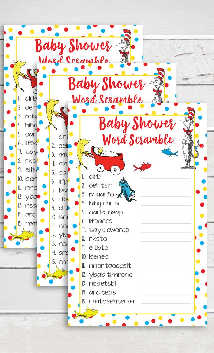 Dr Seuss baby shower game, Word scramble.  Rearrange the scrambled letters to make a baby related word in this Dr Seuss baby shower game.  Free gift tracker included with purchase