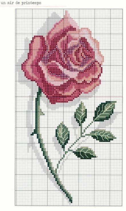 Cross-stitch Rose... no color chart available, just use the pattern chart as your color guide... Gallery.ru / Photo # 23 - 229 - Yra3raza