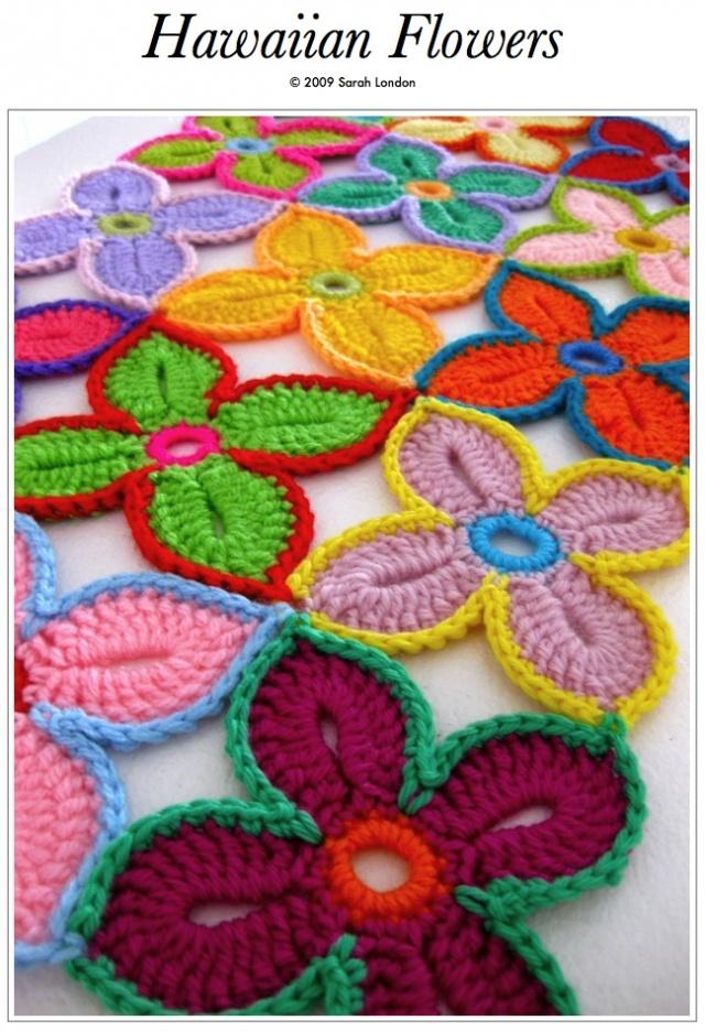 Free Hawaiian flower crochet pattern