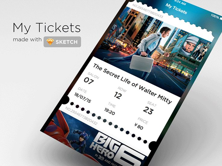 My tickets screen of a cinema app,you can remove your ticket if you have already seen it.