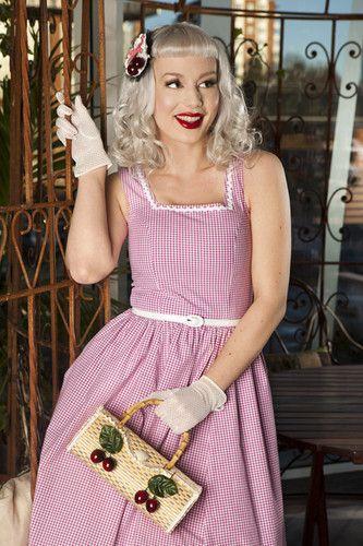 Daisy Dapper Pink Gingham Ester Dress Pepita Rockabilly PIN UP Vintage <3