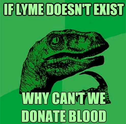The Red Cross says no to blood donations if you have Chronic Lyme Disease and are not allowed to donate blood, period, unless you have been well for two years after treatments. So apparently Chronic Lyme DOES exist....go figure.