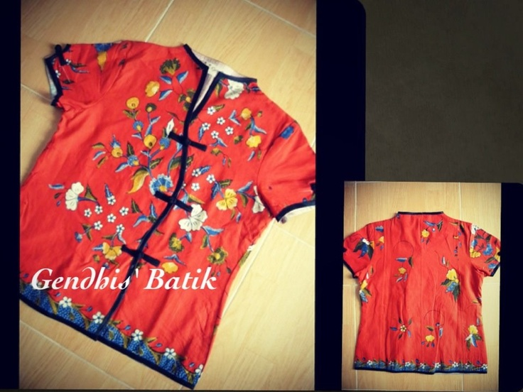 Red batik blouse