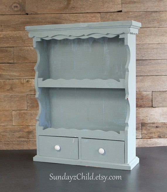 Mini Wall or Shelf Sitting Hutch With Drawers - Vintage Small Kitchen Cabinet - Farmhouse Kitchen Spice Rack - Shabby