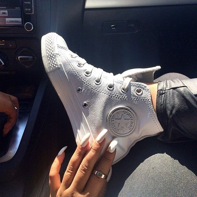 White leather hi top converse all stars