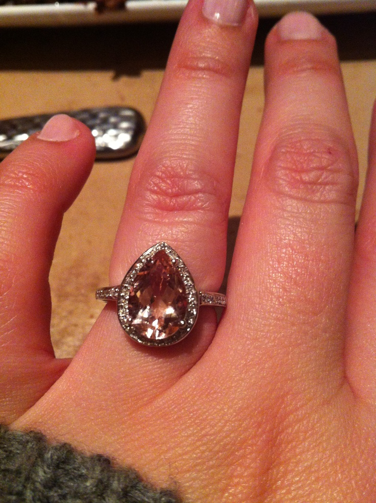 pear shaped morganite halo ring things i love