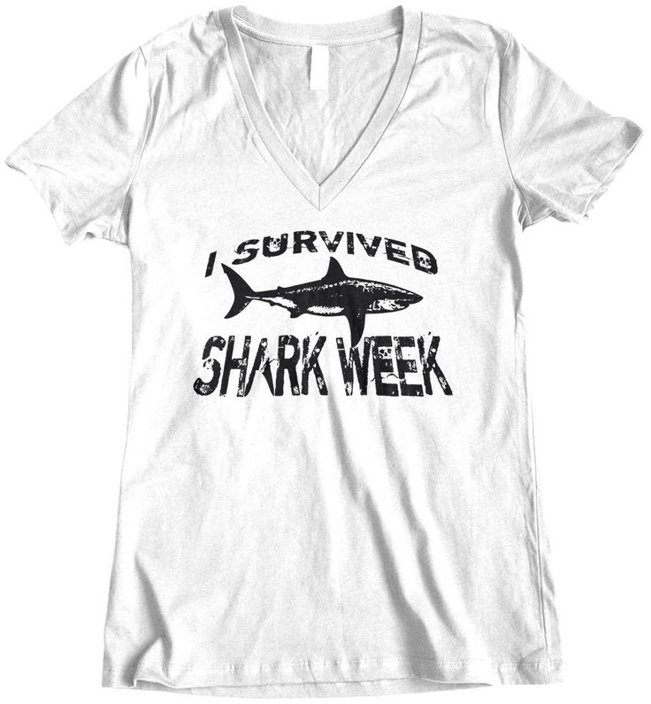 I Survived Shark Week, Womens t shirt, V neck tee shirt, Shark Week, Custom Printed Tee by TheCozyBear on Etsy https://www.etsy.com/listing/239969550/i-survived-shark-week-womens-t-shirt-v