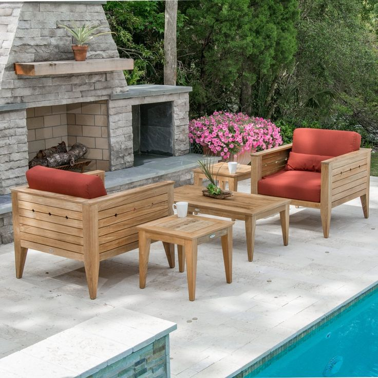 Craftsman Teak Outdoor Lounge Set