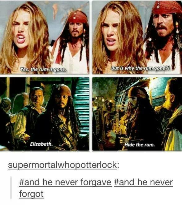 """Hide the rum"" 〖 TAGS: Disney Pirates of the Caribbean Captain Jack Sparrow Elizabeth Swann rum funny tumblr 〗"