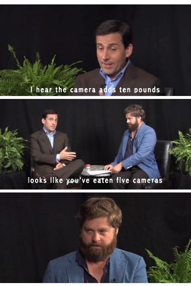 "Steve Carell & Zach Galifianakis on ""Between Two Ferns"" These two are amazing."