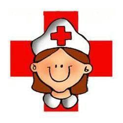 Dibujo de enfermera  con cruz roja para imprimir