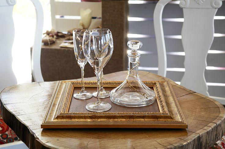 Σετ καράφα 3 ποτήρια & χειροποίητος ξύλινος δίσκος Atelier Zolotas