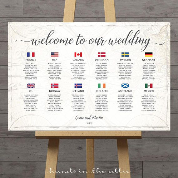 Seating Chart Travel Theme Wedding Table Plan With Country Flags Of The World Map Destination Wed Travel Theme Wedding Wedding Table Plan Seating Chart Wedding