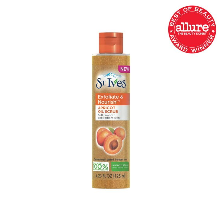 St. Ives Exfoliate & Nourish Apricot Oil Scrub  . A few (OK, maybe 30) years after we first met St. Ives's apricot scrub, we're reaching for this new formula, which cushions the same buffing walnut powder in oils to leave skin smoother and plumper. $6.83