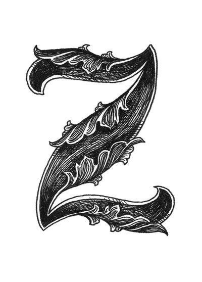 Leaf Script Z Art Print