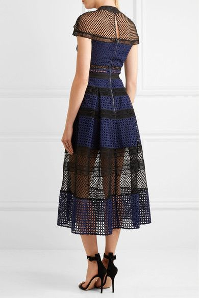 Self-Portrait - Paneled Guipure Lace Dress - Navy - UK10
