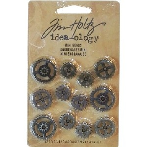 Tim Holtz Idea-ology Mini Gears - Pk of 12    Tim Holtz® idea-ology mini gears. 12 gears of assorted styles. Copper, pewter and brass antiqued finishes.    Great for mixed metal, altered art and steampunk jewellery!    Price:  $9.95 per pack  AU$9.95