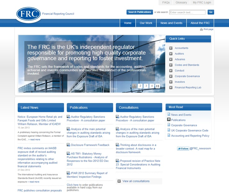 Best Financial Services Site  Financial Reporting Council - http://www.frc.org.uk  Implemented by MMT Digital  The Financial Reporting Council is the UK's independent regulator responsible for promoting high quality corporate governance and reporting to foster investment.The architecture of the site accommodates a vast amount of content, approximately 400 pages and 3,000 PDFs. http://www.kentico.com/Customers/Site-of-the-Year/Site-of-the-Year-2012