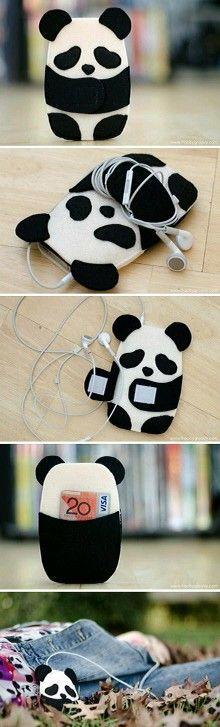 Panda cellphone case, wallet, earbud holder.