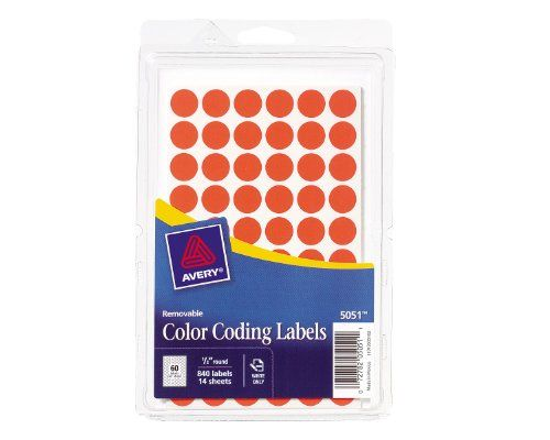 $6 Avery Removable Color Coding Labels, 0.5 Inch, Neon Red, Round, Pack of 840 (05051) Avery,http://www.amazon.com/dp/B00005QXZG/ref=cm_sw_r_pi_dp_-a3btb1NZY4HRXP6