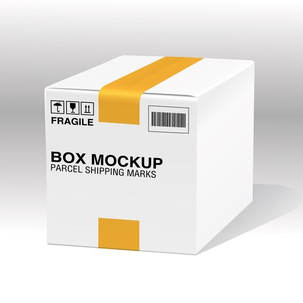 Download White Box With Yellow Tape And Shipping Marks In 2020 Box Mockup Medicine Packaging Packaging Labels