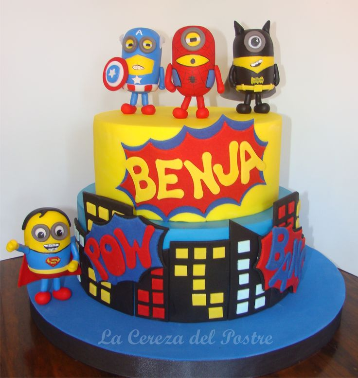 #minionscake #superherominion #superminionscake #tortasuperheroes #minions #tortaminions #minionstarta #minionsbolo #lacerezadelpostre