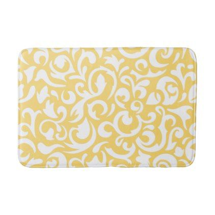 Cute Corn Yellow White Damask Floral Pattern Bath Mat - spring gifts beautiful diy spring time new year