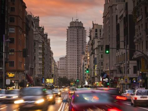 Spain, Madrid, Centro Area, Gran Via Looking Towards the Torre De Madrid and Plaza De Espana