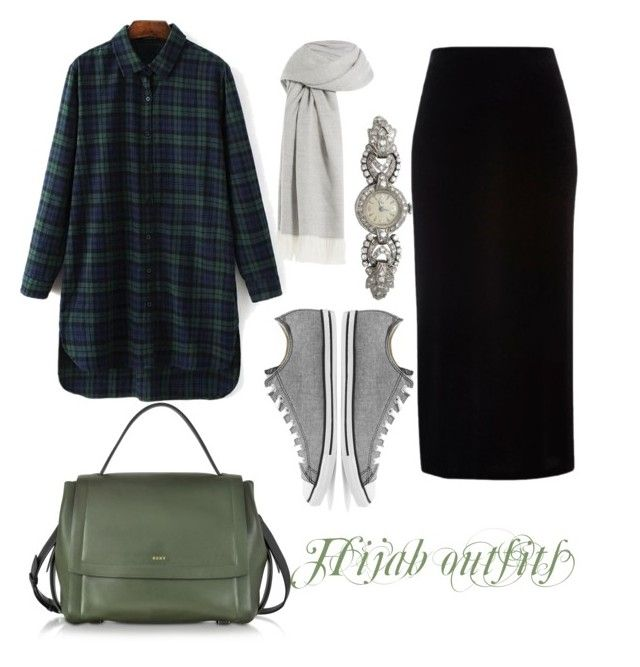 """Hijab outfits"" by mennah-ibrahim on Polyvore featuring River Island, Agnona, Converse and DKNY"