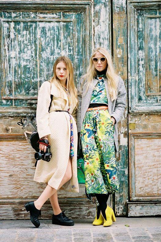 Marie Myrhoj Jensen of Nemesis Babe blog, and Laura Tonder of Couture Kulten before Giambattista Valli, Paris, March 2014.