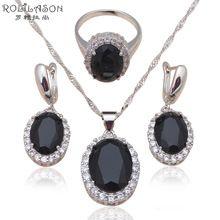 New přijít zirkony Stříbrné razítko náušnice náhrdelníky prsteny módní šperky Set Black AAA cz Health JS584 (Čína (pevninská část))