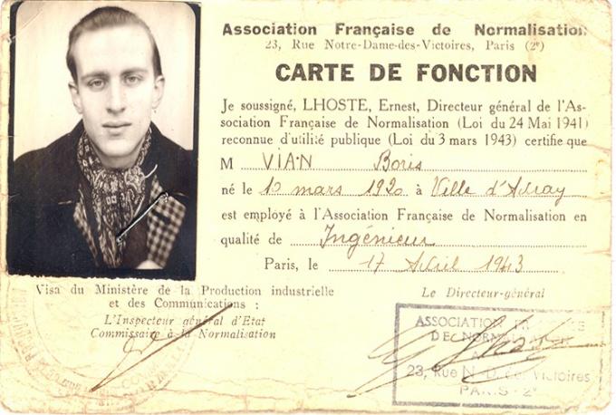 * Boris Vian 1920 - 1959  Association Française de Normalisation. Carte de Fonction. 17 avril 1943.   C'est à l'Afnor que Boris Vian commence la rédaction de L'Écume des jours. L'Association Française de Normalisation a embauché l'ingénieur Boris Vian en août 1942, et il y restera jusqu'en février 1946. Les 222 pages manuscrites du roman sont intégralement écrites au verso d'imprimés Afnor