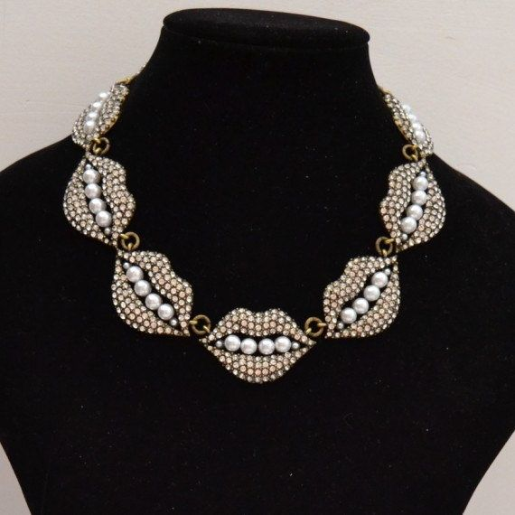 Full rhinestone sexy mouth  necklace Full rhinestone by shop2lopez