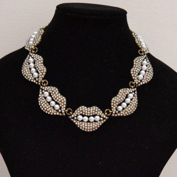 Full rhinestone sexy mouth  necklace Full rhinestone by shop2lopez