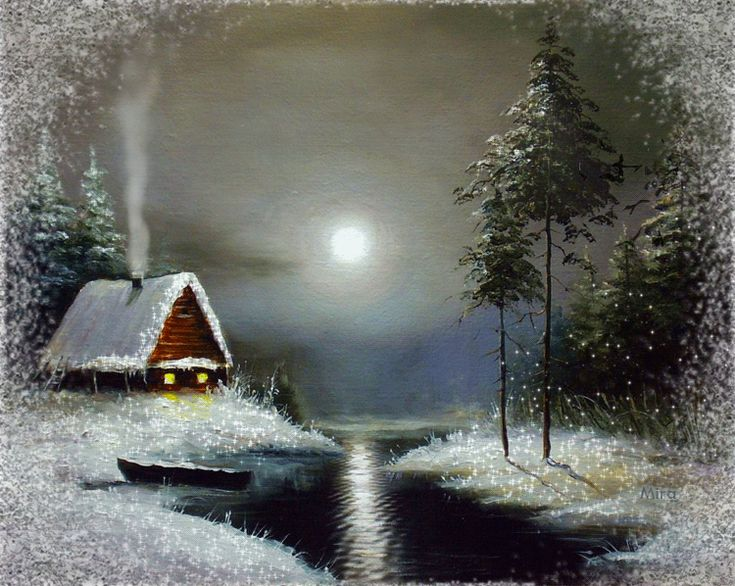 Very beautiful winter landscape animated card