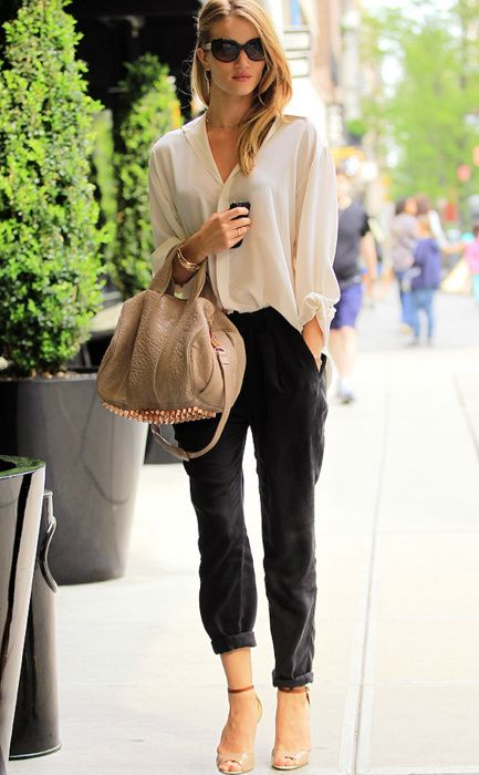 Cream Silk Blouse, Nude shoes, Beige Bag, Black Pants ...