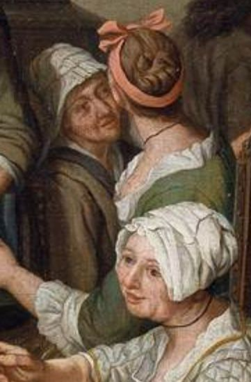 "1750 - 1770.  Detail of ""Patrician Interior"" by Jan Jozef Horemans II (Flemish painter).  Women -- Clothing & dress -- 1700-1799 -- Flanders. 18th century Flemish costume.  One of the ladies has a ribbon in her up-do hairstyle, instead of a cap."