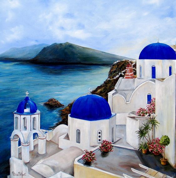Santorini painting: