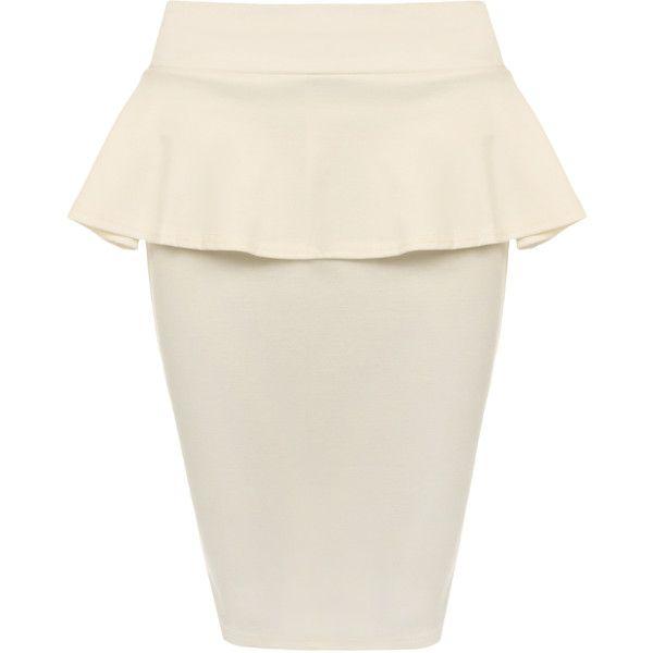 Alexa Plain Peplum Skirt (165 ARS) ❤ liked on Polyvore featuring skirts, cream, short frilly skirt, short bodycon skirt, ruffle skirt, peplum skirt and white peplum skirt