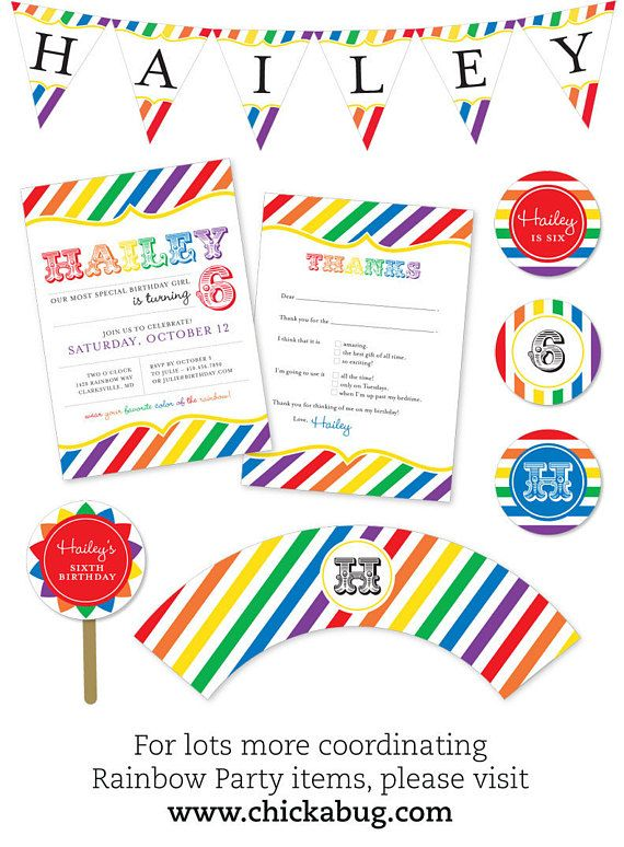 Rainbow Party by Chickabug { Professionally printed *or* DIY printable invitations } This rainbow theme is so colorful and fun - and its also perfect for an art party! More items (both printed items and DIY printables) are available in this theme: