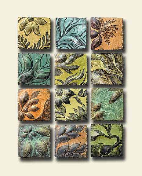 """This ceramic tile mural is award-winning! Now part of the Art Comes Alive exhibit and awards. """"Botanical"""" by Natalie Blake Studios"""