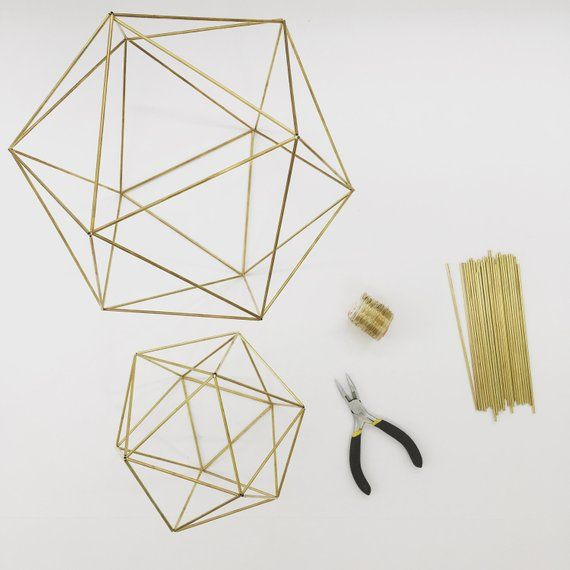 DIY Kit & Pattern: Geometric Icosahedron Himmeli – Wedding Centerpiece – Coffee Table Decor – Minimalist Orb Brass Sphere – Airplant Mobile