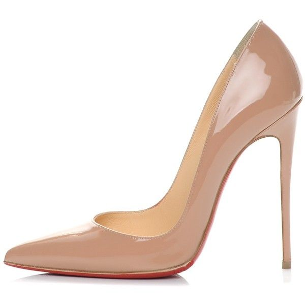 CHRISTIAN LOUBOUTIN Patent So Kate 120 Pumps 38 Nude ❤ liked on Polyvore featuring shoes, pumps, christian louboutin stilettos, pointed toe stilettos, nude patent pumps, patent leather shoes and stilettos shoes