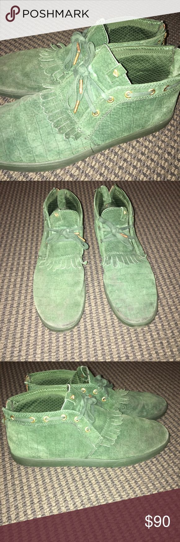 Diamond supply company jasper Sold out diamond supply company jasper in green leather croc skin pattern. Lightly worn still great condition. Diamond Supply Co. Shoes Chukka Boots