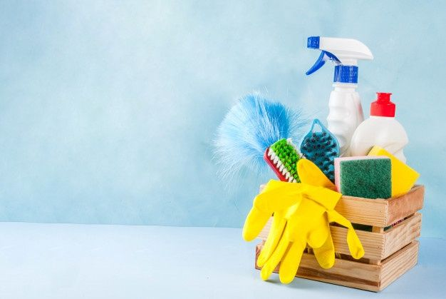 Spring Cleaning Concept With Supplies House Cleaning Products Pile Household Chore Concept On Light Blue Background Copy Space In 2021 Cleaning Light Blue Background Clean House