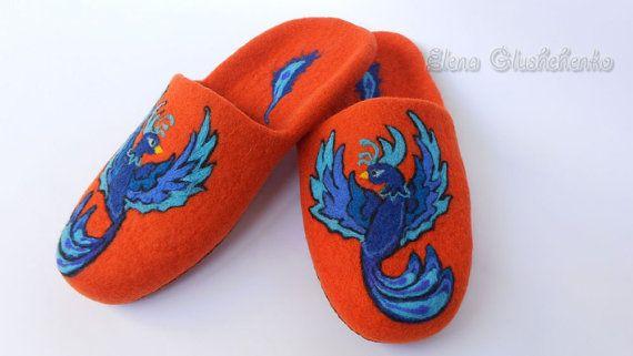 Felted Slippers Orange Slippers Women's Slippers by Aurumvelleris